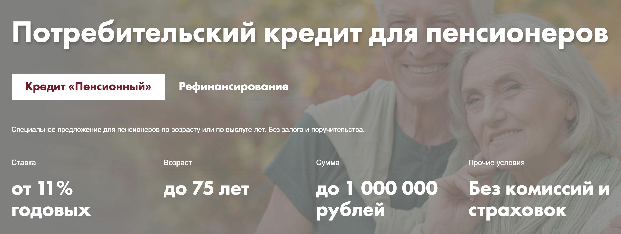 интерпромбанк кредит пенсионерам