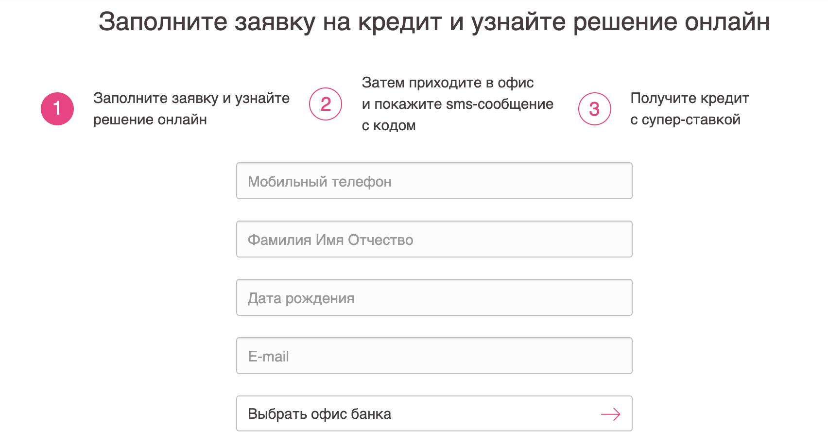 Кредит заявка онлайн